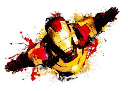 IRON MAN - FLYING WHITE - CUT EFFECT canvas print - self adhesive poster - photo print